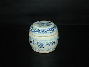 Rare Yuan blue and white drum shape cover box