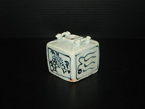 Rare Yuan blue and white square jar with young dragon.