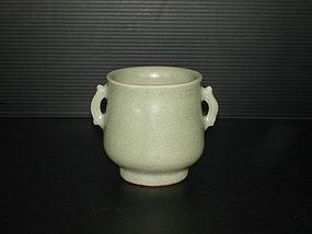 Rare Song longquan celadon cerser with two ears.