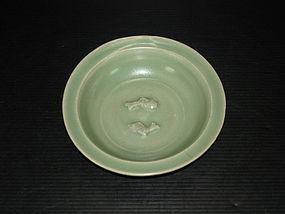Song Yuan dynasty longquan celadon twin fish dish
