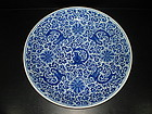 Rare Qing blue and white large flowery baby dragon dish