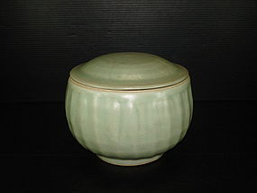 Rare Song longquan celadon large alm bowl with cover