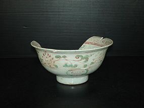 Rare shard of Yuan over glaze enamel large bowl