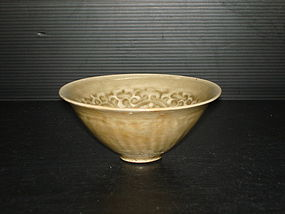 Rare Song yaozhou celadon flower conical bowl