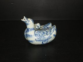 Rare Ming 15th century blue and white duck ewer
