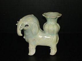 Rare Song Yuan qingbai large elephant shape ewer