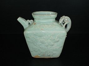 Rare Yuan qingbai square shape flower dragon ewer