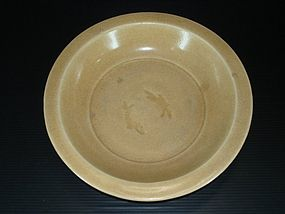 Rare Song golden longquan large impressed fish dish