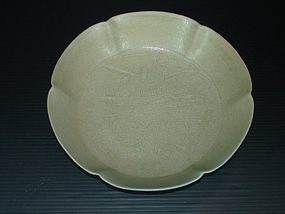 Rare Five dynasties Yue large butterfly flower dish