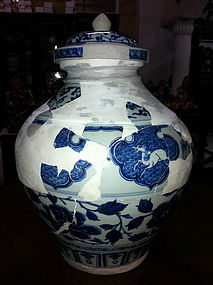 Rare sample Yuan blue and white large horse jar