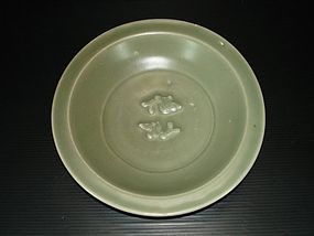 Song Yuan longquan celadon large twin fish dish