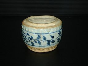 Rare Yuan blue and white drum shape jar