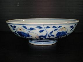 Qing Jiaqing mark period blue and red peach bowl