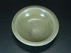 Song longquan celadon dish with carved fish motif