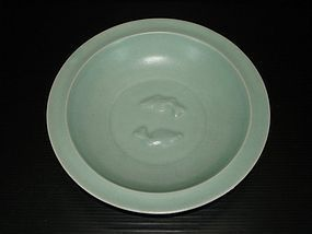 Song longquan celadon large two fish dish