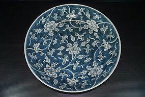 Qing 18th century Kangxi blue base flower dish