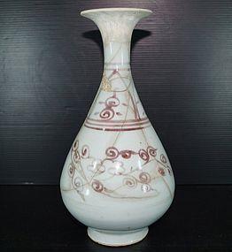 Rare Yuan underglaze copper red yuhuchun vase