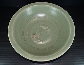 Song longquan celadon large two fish dish 30 cm