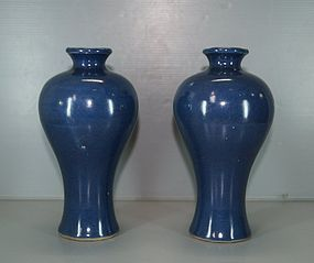 Pair of Ming dynasty blue ground meiping vase