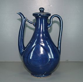 Ming 16 - 17th century blue ground large ewer
