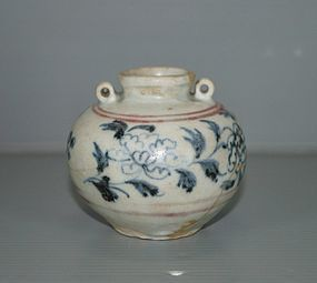 Rare Yuan dynasty under glaze blue and red jar