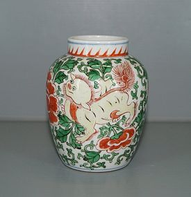 Transitional Shunzhi wucai enamel jar