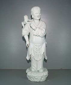 Qing 18th century Dehua figure of Ang Hai Jie
