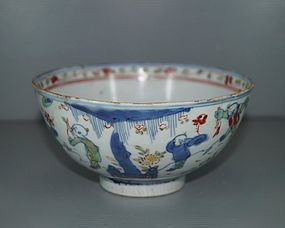 Rare Ming dynasty wucai bowl with boys motif