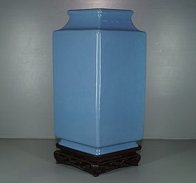 Qing 18th century blue glaze large vase