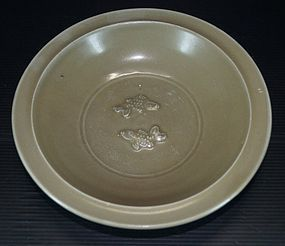 Song dynasty longquan celadon large two fish dish