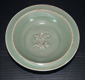 Song longquan celadon blue green rare twin fish dish