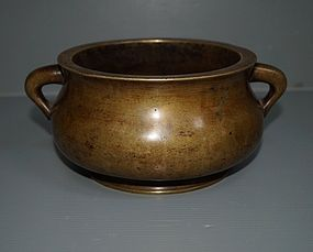Ming dynasty large Chinese bronze censer 21cm