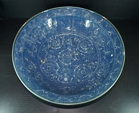 Rare Ming blue glazed white flower large bowl / basin