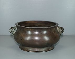 Ming dynasty Chinese bronze censer with lion mask