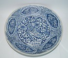 Rare Late Ming blue ground flower and bird dish