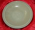 A Ming dynasty longquan celadon large plate 28 cm