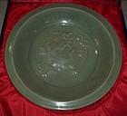 Rare Yuan dynasty longquan celadon large dragon dish.