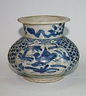 Rare Late Ming blue and white large zhadou
