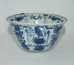 Late Ming wanli period blue and white tall lobbed bowl