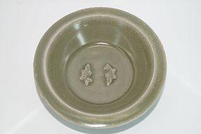 Song Yuan dynasty longquan celadon two fish plate