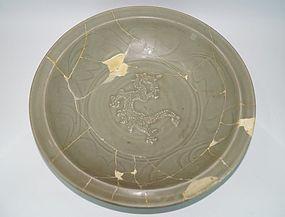 Rare sample of Song Yuan dynasty longquan celadon dragon dish