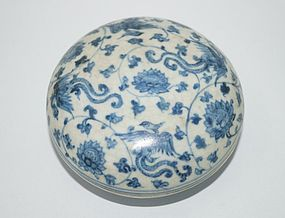 Rare early Ming blue and white cover box
