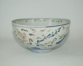 Rare late ming Wucai under glaze blue over glaze enamel fish bowl