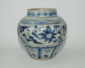 Rare Yuan dynasty Persian blue and white big jar