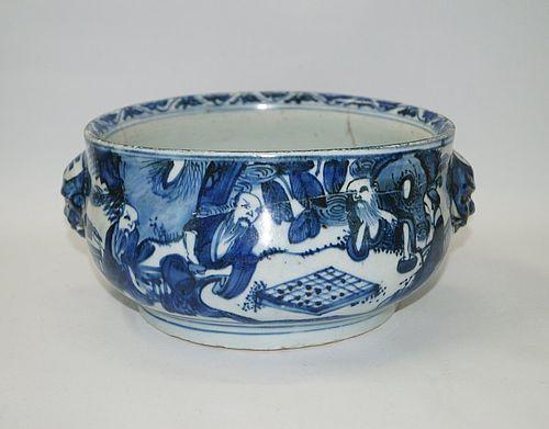 Rare late Ming Chongzhen Tianqi blue and white censer