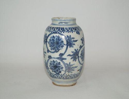 Rare Ming dynasty blue and white flower vase