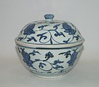 Late Ming blue and white large covered bowl