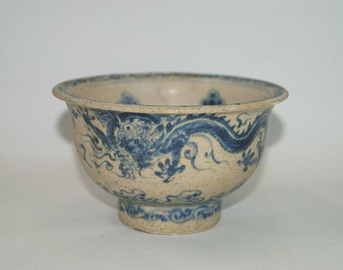 Rare Vietnamese Annamese blue and white Dragon bowl