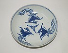 Rare Late Ming dynasty blue and white large dish with phoenix motif