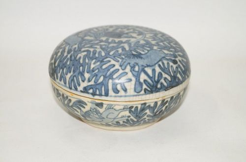 Rare Ming dynasty Wanli blue and white large covered box